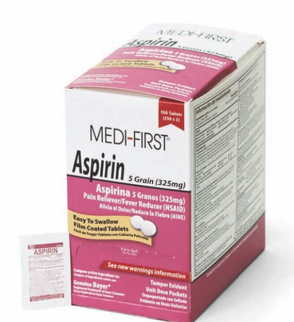 Medique Medi-First Asprin Pain Relief Tablets(50 x 2's) 325mg-Box of 100