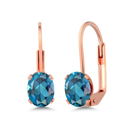1.80 Ct Oval 7x5mm London Blue Topaz Brass Rose Gold Plated Brass Stud Earrings (Rose Gold London Blue Topaz)