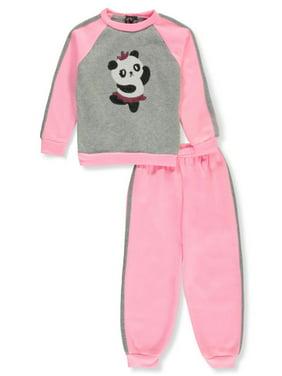 Real Love Girls' Sequin Panda Ballerina 2-Piece Sweatsuit Pants Set