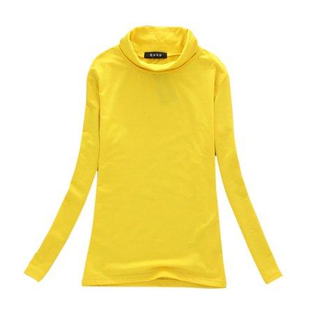 Solid Sweater Women Cotton Long Sleeve Turtleneck T-Shirt Tops Blouse