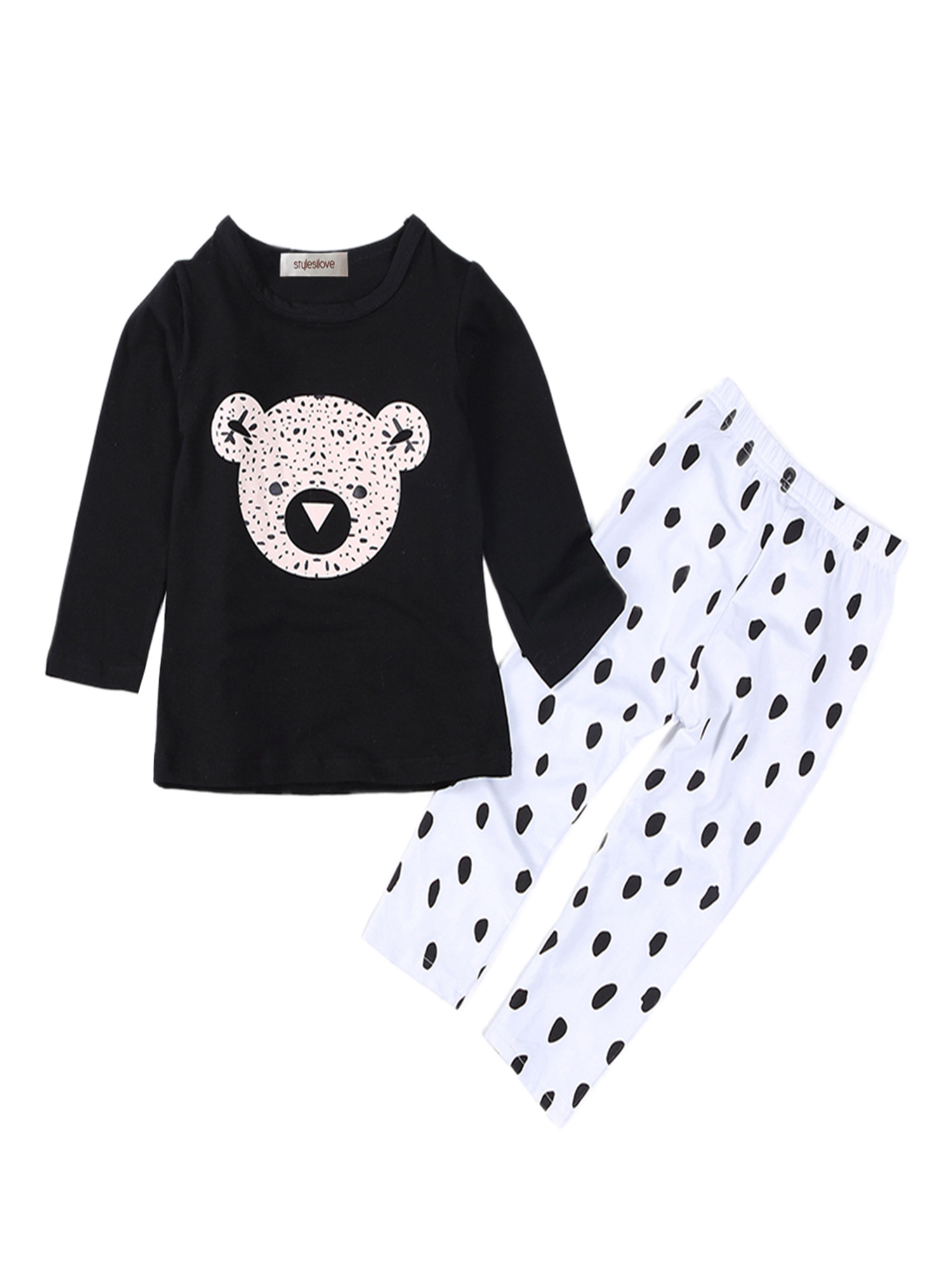 StylesILove Cute Graphic T-shirt and Pants Baby Boy 2-pc Set (18-24 Months, Teddy Bear)