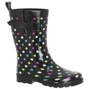 Shiny Multi Dots Sporty Rubber Mid Calf Women Rain Boot