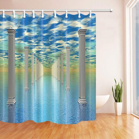 BOSDECO Pillars Keep Blue Firmament Polyester Fabric Bathroom Shower Curtain 66x72 inches - image 1 of 1