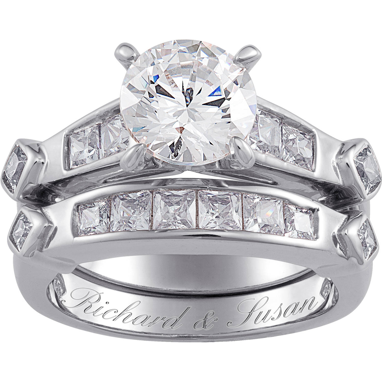 Sterling Silver 6.6 Carat T.G.W. Cubic Zirconia 2 piece Wedding Ring Set