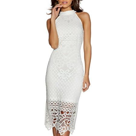 Mockneck Lace Midi Dress - Bebe Party Dress