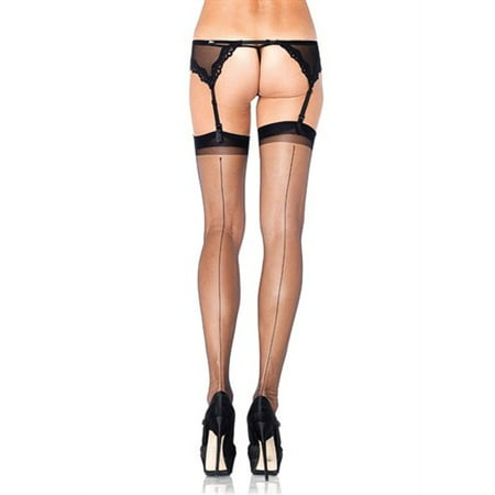 3 Piece Spandex Stockings (Women's Spandex Ultra Sheer Back Seam Stockings, Black, One Size )
