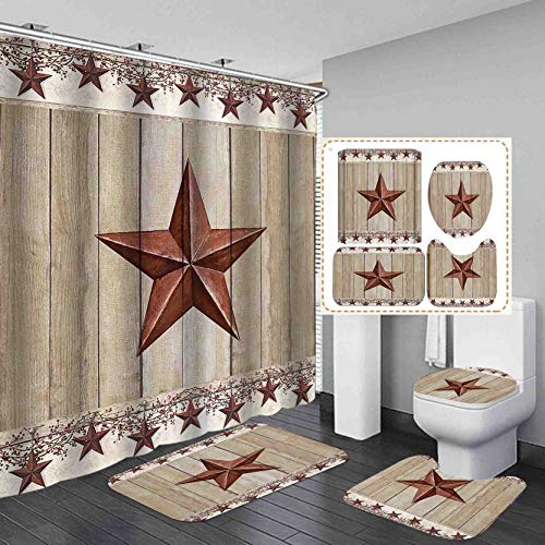 Details about  /Rustic Wooden Boards Shower Curtain Set Bathroom Waterproof Fabric Black Letters