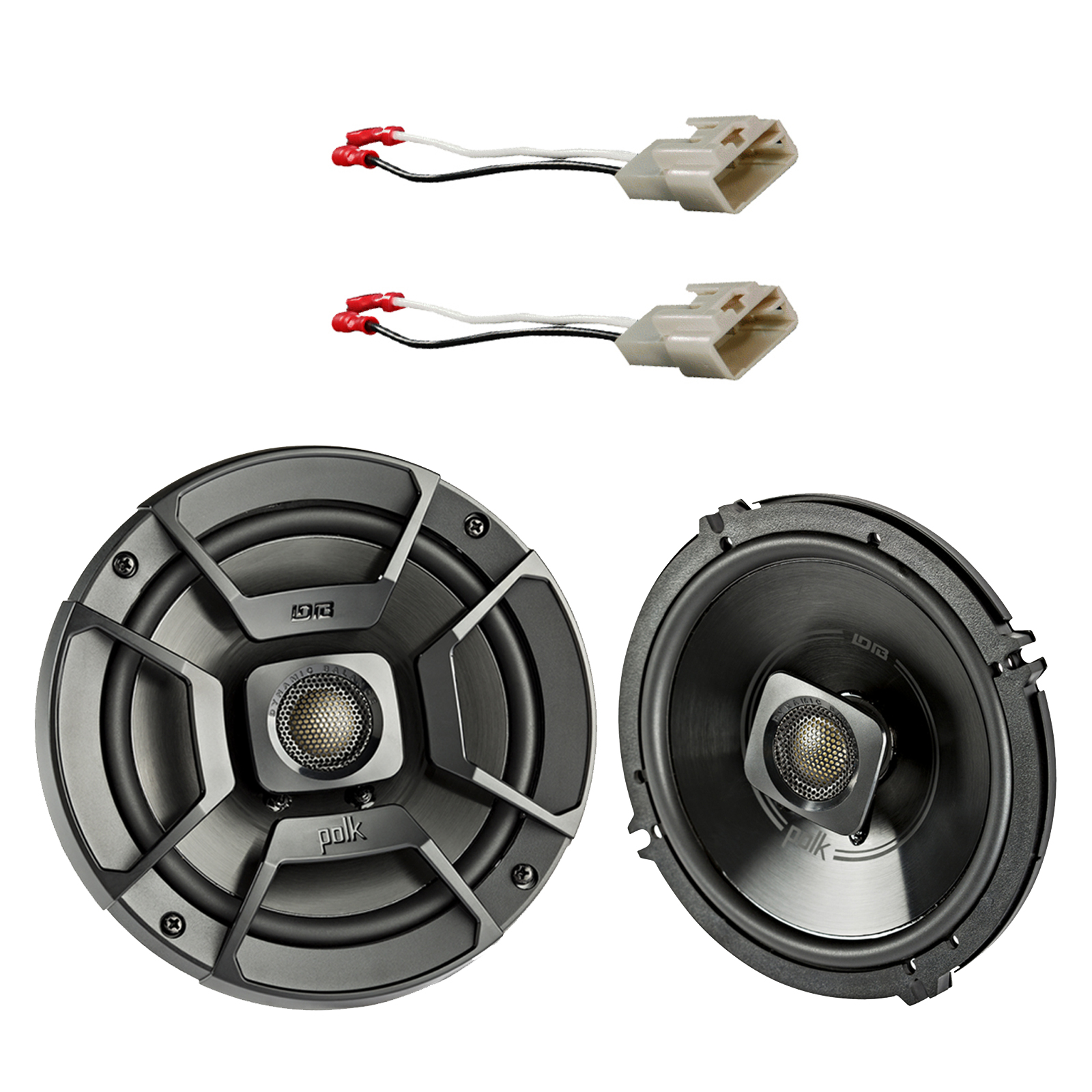 """2x Polk Audio 6.5"""" 300W 2 Way Car/Marine ATV Stereo Coaxial Speakers, 2x Metra 72-8104 Speaker Connector for Select Toyota Vehicles"""