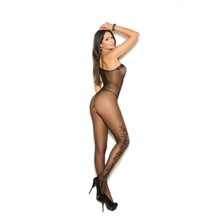 - Fishnet Bodystocking With Floral Scroll Detail And Open Crotch