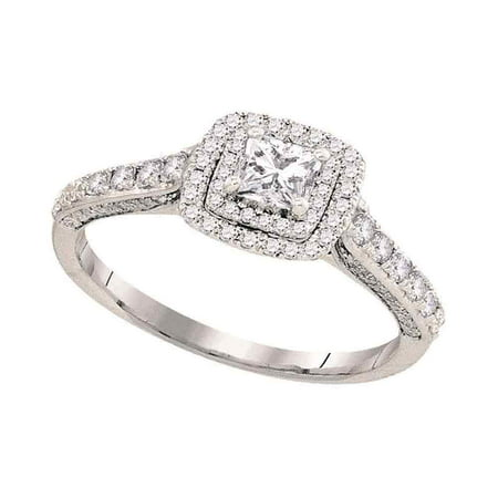- 14kt White Gold Womens Princess Diamond Solitaire Bridal Wedding Engagement Ring 1.00 Cttw (Certified)