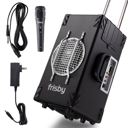 Frisby FS-4300BT 2.1 Ch Bluetooth Portable Karaoke Home Audio Speaker Heavy Duty Trolley System w/ Wired Microphone, SD USB Reader - Excellent Sound Quality with Clear Loud Audio (Black)