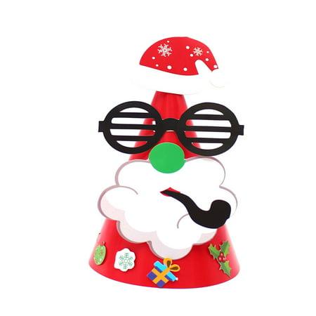 〖Follure〗New Christmas Holiday Stars Print Xmas Cap For Santa Claus Gifts Paper Cap ()