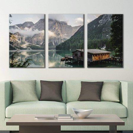 wall26 - 3 Panel Canvas Wall Art - Majestic Natural Landscape Triptych Canvas Series - Cabin on The Lake - Giclee Print Gallery Wrap Modern Home Decor Ready to Hang - 16