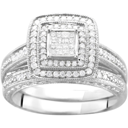 1/2 Carat T.W. Diamond 16-Princess-Stone-Center Bridal Set in Sterling Silver