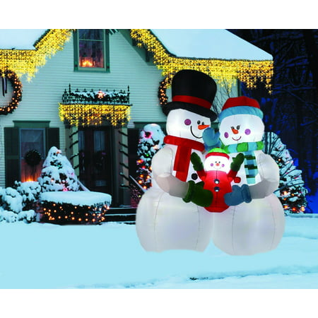 8FT Inflatable Snowman Family Indoor Outdoor Christmas ...