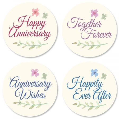 Bliss Anniversary Stickers- Set of 24 Round Evelope