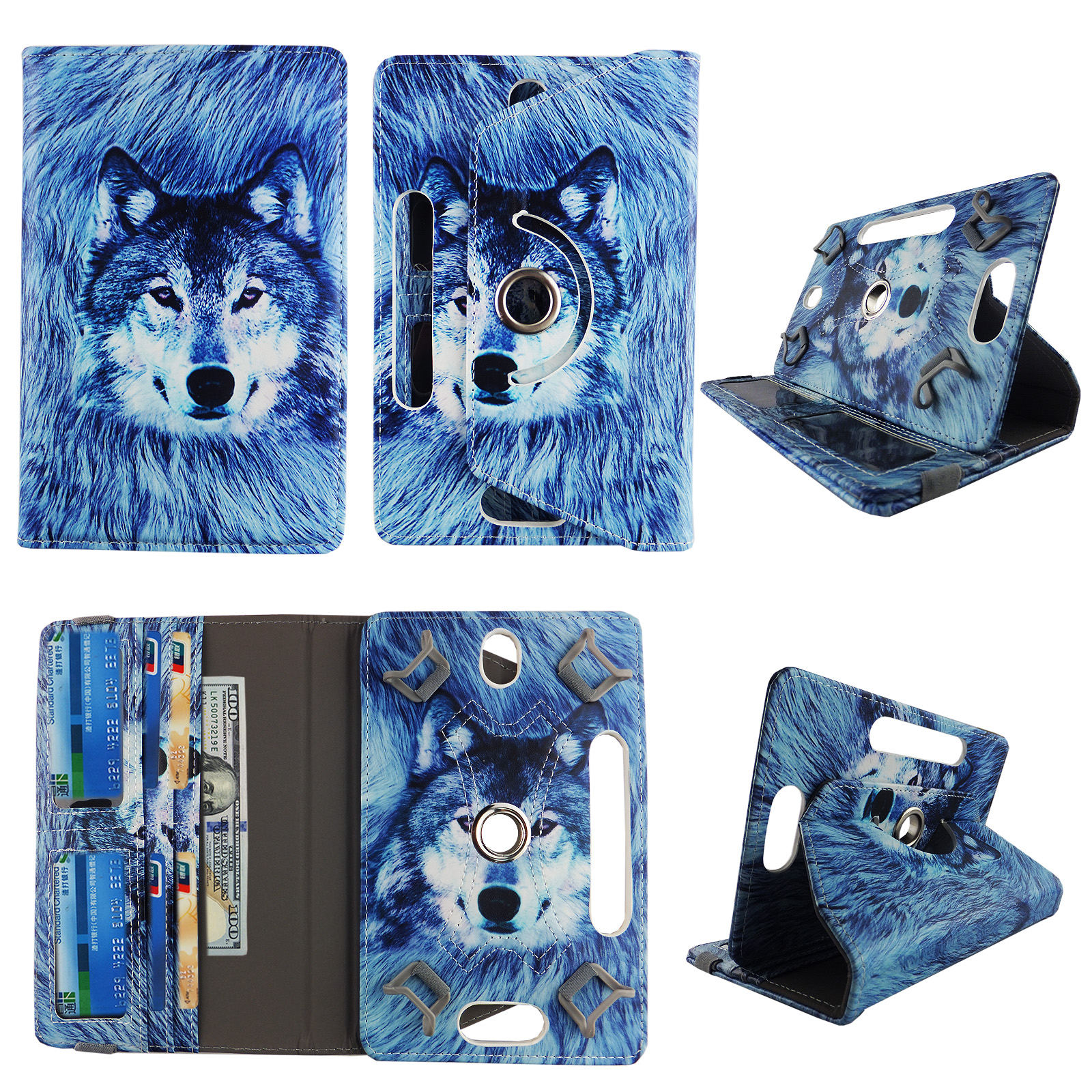 "Snow Wolf tablet case 10 inch for RCA Pro 10"" 10 inch android tablet cases 360 rotating slim folio stand protector pu leather cover travel e-reader cash slots"
