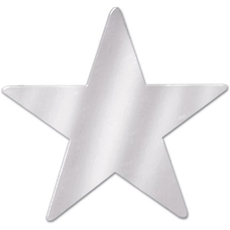 Beistle 57027-S Silver Metallic Star Cutouts, 3-1/2 Inch, 12 Pieces Per Package - New Years Centerpieces