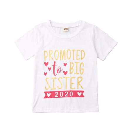New 2020 Big Sisters Short Sleeve T-Shirts Little Girl Clothes Kids Girl White Letter Printed Tees Tops Big Short Clothing