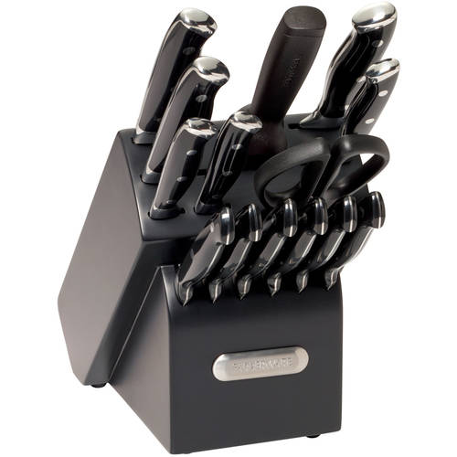 Farberware 15-Piece Forged Triple Riveted Cutlery Set, Black with EZ Angle Sharpening Steel