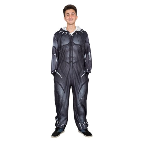 Marvel Comics Black Panther Zip up One Piece Pajama Union Suit (Black Panther Suit)