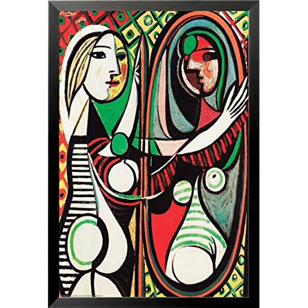 buyartforless FRAMED Girl Before a Mirror 1932 (Juene Fille Devant Un Mirror) by Pablo Picasso 36x24 Museum Art Print Poster