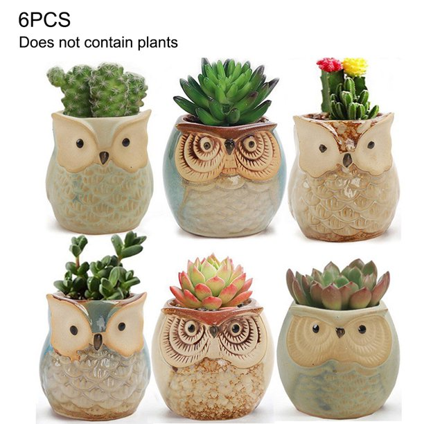 6pcs Owl Pot Ceramic Succulent Plant Pot Cactus Thumb Flower Pot Container Planter Bonsai Pots With A Hole Desktop Ornament Walmart Com Walmart Com