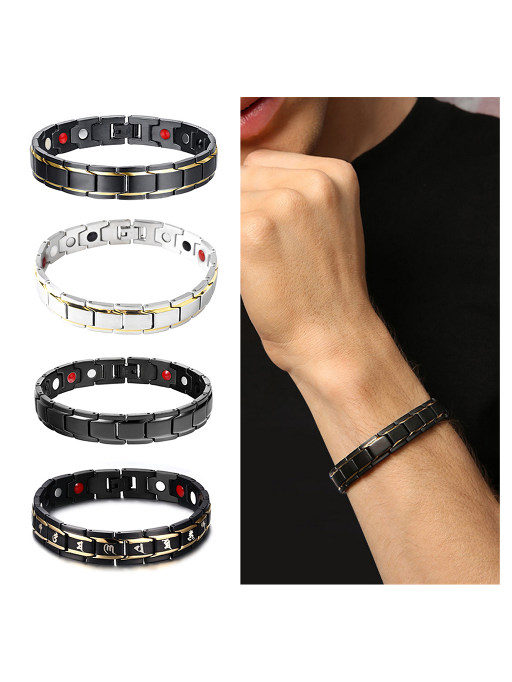 Fashion Titanium Steel Magnetic Therapy Energy Bracelet Men Health Care Women, Silver and Gold