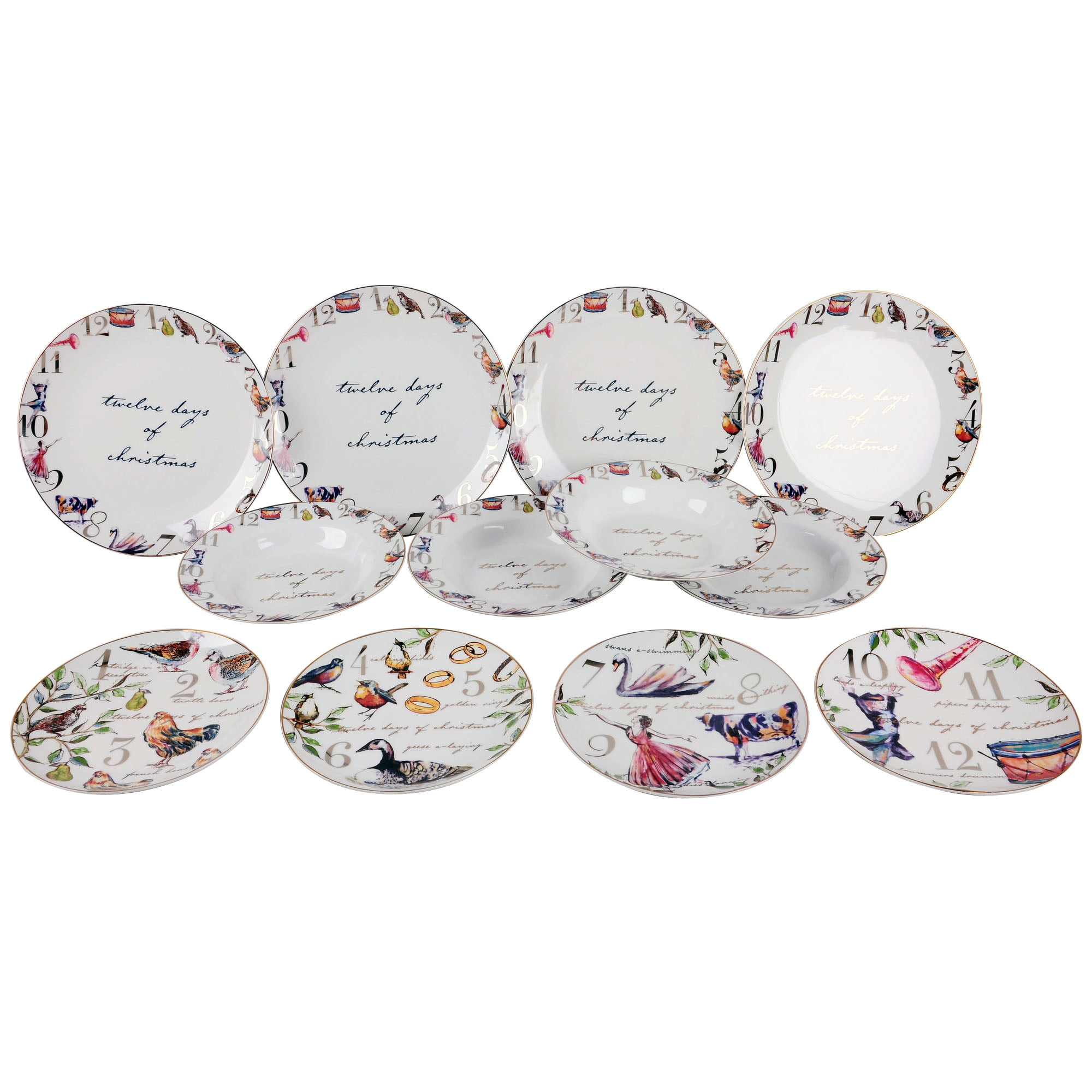 Better Homes And Gardens 12 Days Of Christmas Porcelain 12 Piece Dinnerware  Set   Walmart.com