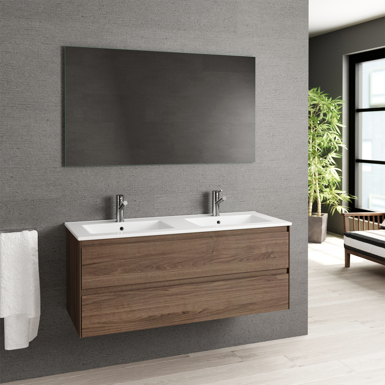 Eviva Bloom 48 Walnut Bathroom Vanity With White Integrated Porcelain Sink Walmart Com Walmart Com