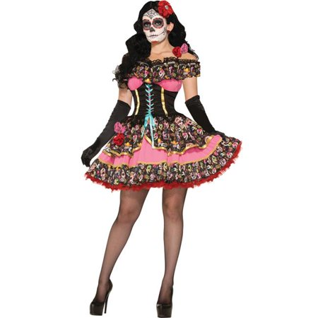 Morris Costumes FM74802 Day of Dead Senorita Costume, Size 8-12 - Spanish Senorita Costume