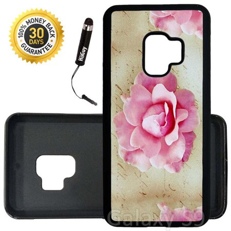 Custom Galaxy S9 Case (Pink Rose Stationery) Edge-to-Edge Rubber Black Cover Ultra Slim | Lightweight | Includes Stylus Pen by