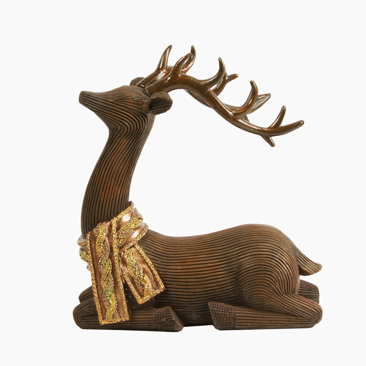 """7"""" Brown Posed Reindeer with Glitter Scarf Christmas Table Top Piece Decoration"""