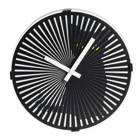 (Kinetic Zoetrope Cat Animated Wall Clock - Black Plastic and Metal)