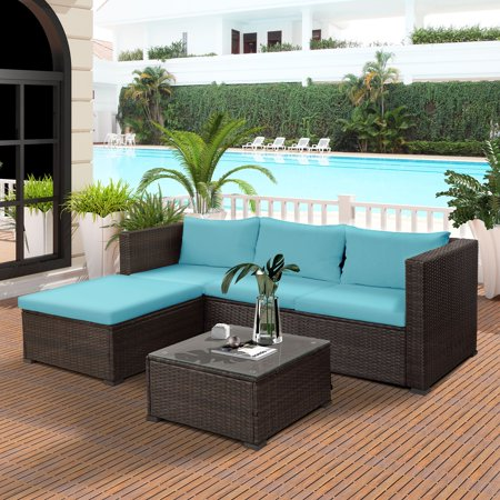 Merax 5-Piece Outdoor Rattan Patio Wicker Sectional Set With Blue Seat and Back Cushions, Tempered glass table top