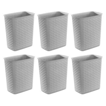 Sterilite Weave 5 8 Gallon Plastic Home Office Wastebasket Trash Can 6 Pack Walmart Canada