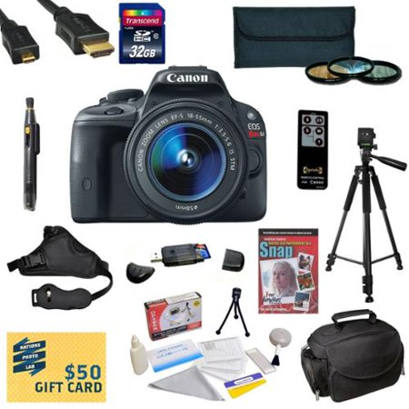 Canon EOS Rebel SL1 DSLR Camera with EF-S 18-55mm f 3.5-5.6 IS STM Lens with 32GB SDHC Card, Battery, Charger,... by