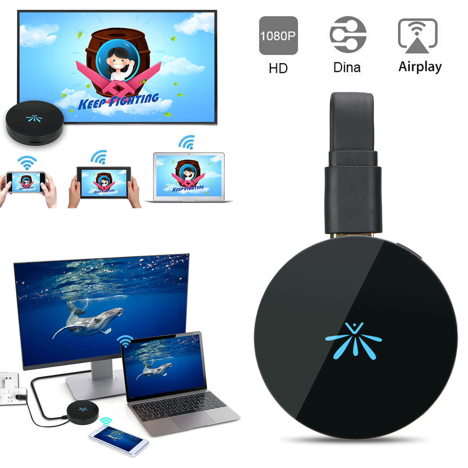 TV Stick 1080P Video WiFi Display Mirroring /& Casting Wireless HDMI Dongle G6