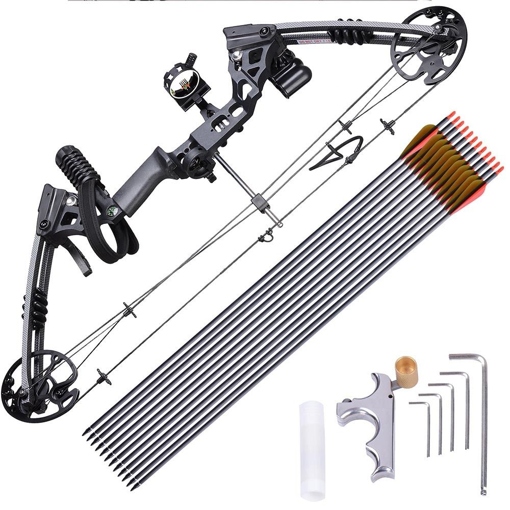 "GHP Black Aluminum Alloy 30"" Axle-to-axle Right Hand Compound Bow w 12 Carbon Arrows by"