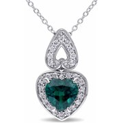 2-1/3 Carat T.G.W. Created Emerald and Created White Sapphire Sterling Silver Halo Heart Pendant, 18