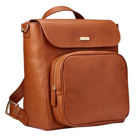 JJ Cole Vegan Leather Brookmont Backpack Diaper Bag Cognac