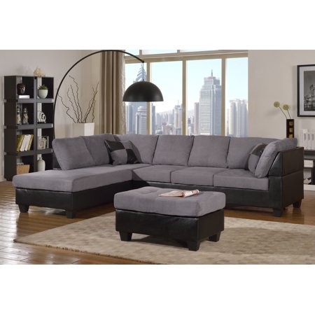 Dylan Leather Furniture (Master Furniture Sectional Sofa Modern Fabric Microfiber Faux Leather Sectional Sofa 3Pc 6 Color)