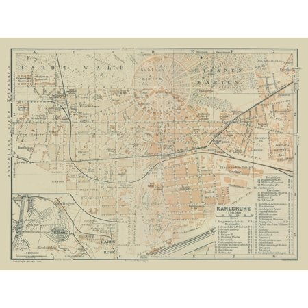 Karlsruhe Map Of Germany.International Map Karlsruhe Germany Baedeker 1914 30 43 X 23