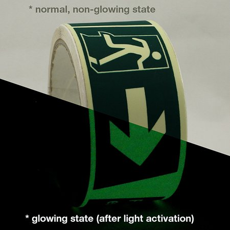 JVCC GLW-S Glow in the Dark Signaling Tape: 2 in. x 16.4 ft. (Right Arrow Fire Exit Luminescent Lime Green) ()