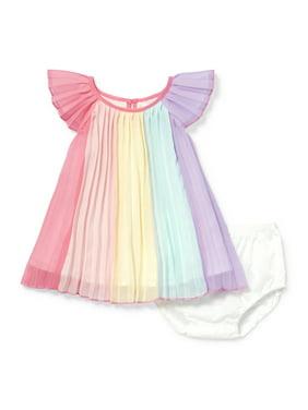 The Children's Place Ruffle Flutter Sleeve Pleated Multicolor Metallic Aline Dress Bloomer 2 Piece Set (Baby Girl)