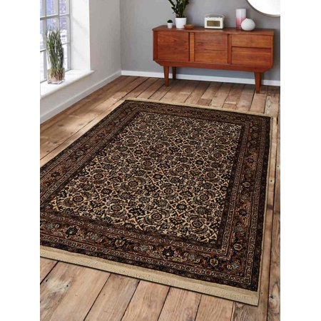 Rugsotic Carpets Hand Knotted Nir Woolen 4' x 6' Vintage Area Rug Cream NR0101-Color:Cream,Material:Wool,Shape:Rectangle,Size:3' x 5' - Hand Knitted Wool