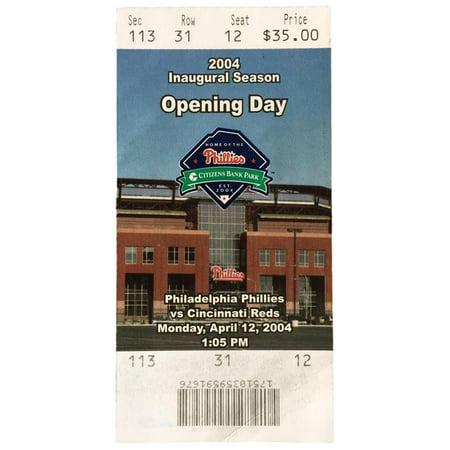 - Philadelphia Phillies Apr 12 2004 Citizens Bank Park Inaugural Season Ticket