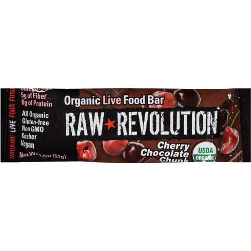 Raw Revolution Cherry Chocolate Chunk Organic Live Food Bar, 1.8 oz, (Pack of 12)