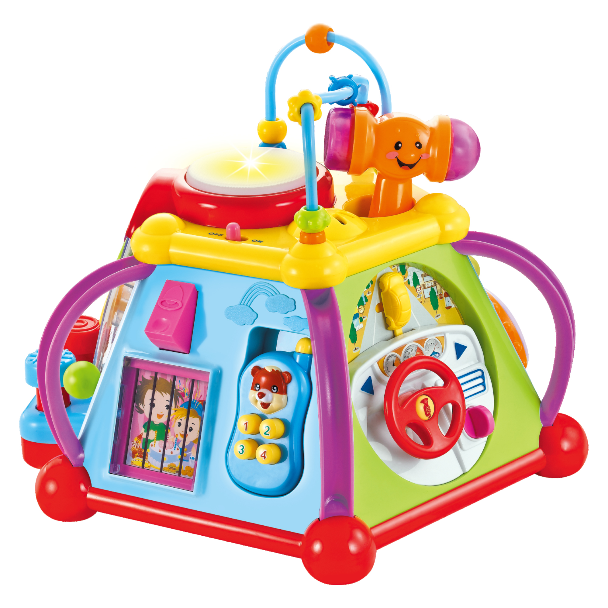 a safe interesting developing toy Busy activity cube Super Toys 12m develops fine motor skills and promotes speech development