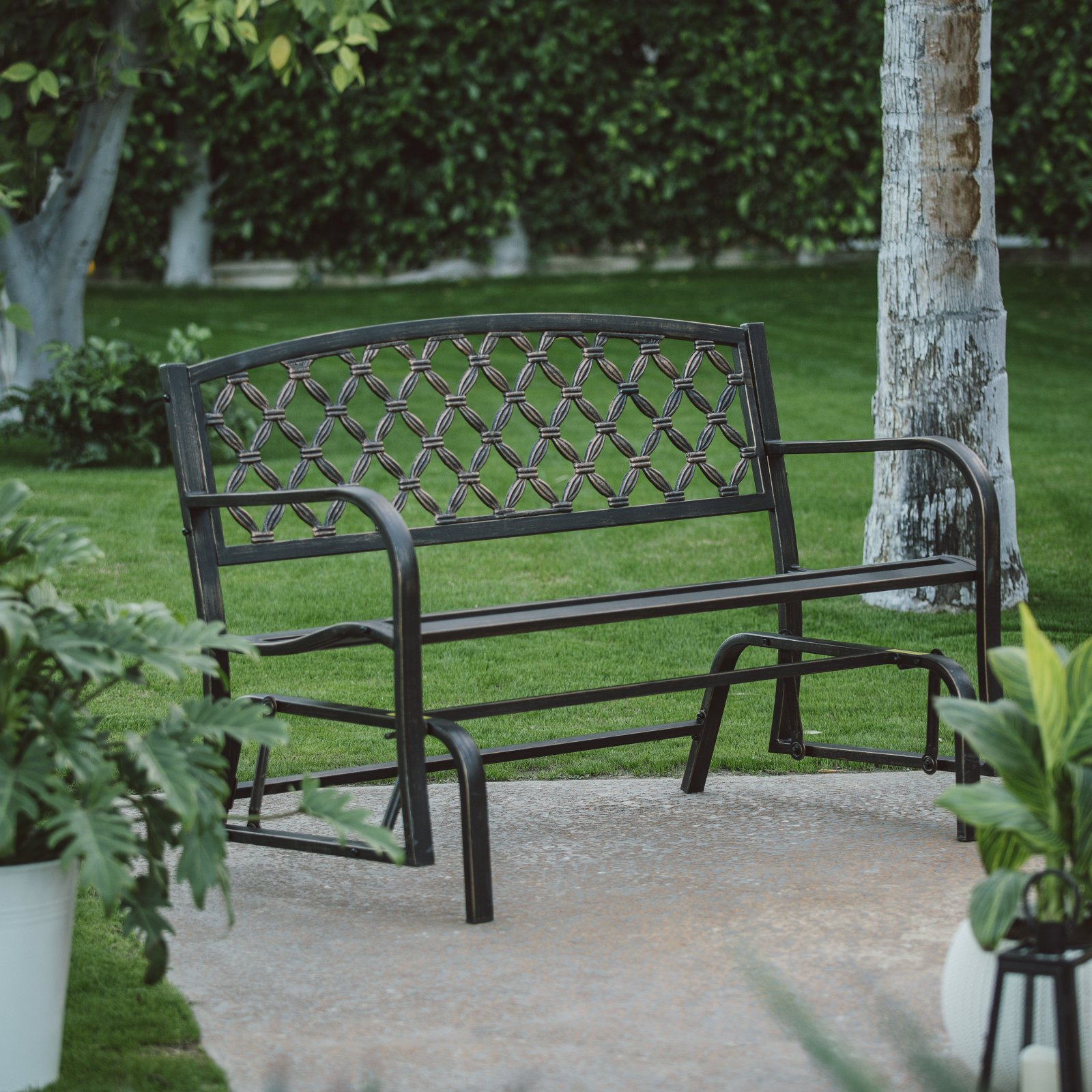 Coral Coast Crossweave Curved Back 4 ft. Metal Glider Bench